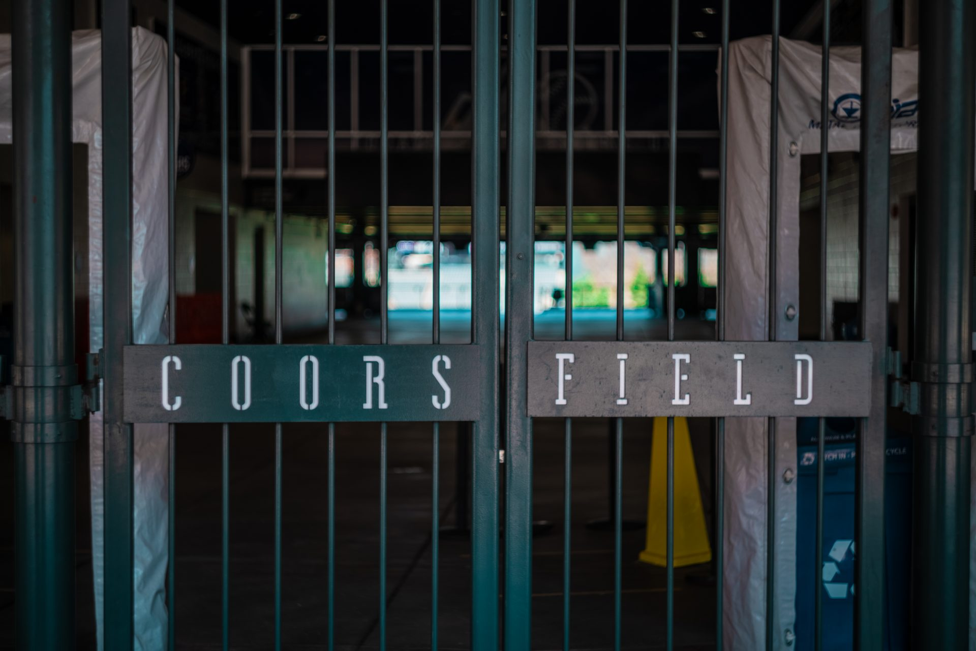 Photo from Sony A7rII of Coors Field's closed gates while the baseball season is postponed.